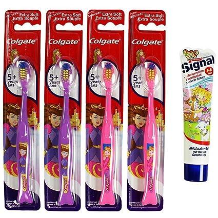 SRTA by COM-FOUR conjunto de 4 para niños-cepillo de dientes manual LILA