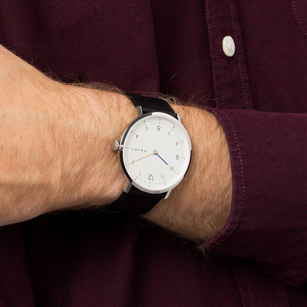 HAVET | Reloj de hombre Barents reloj de acero con esfera blanca y correa piel negra: Amazon.es: Relojes