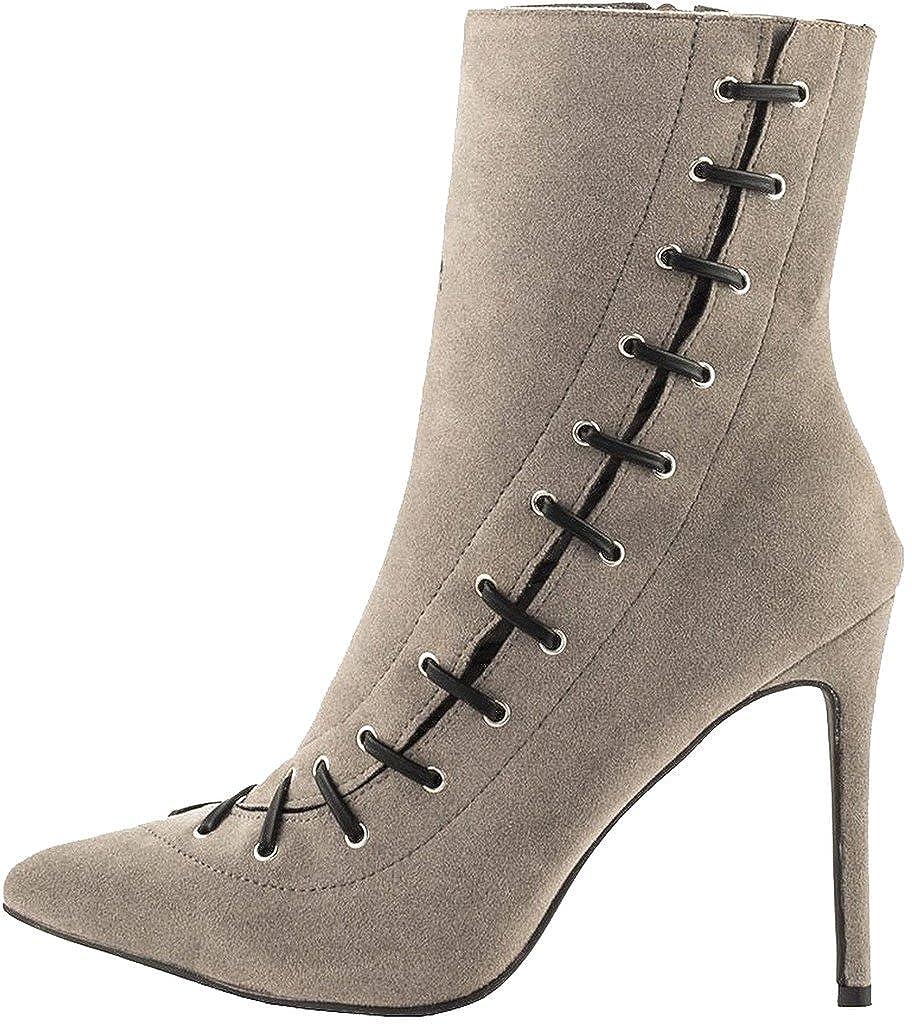 Calaier Damen Camilk 11CM Stiletto Reißverschluss Stiefel Schuhe Beige Beige Beige a9ac08
