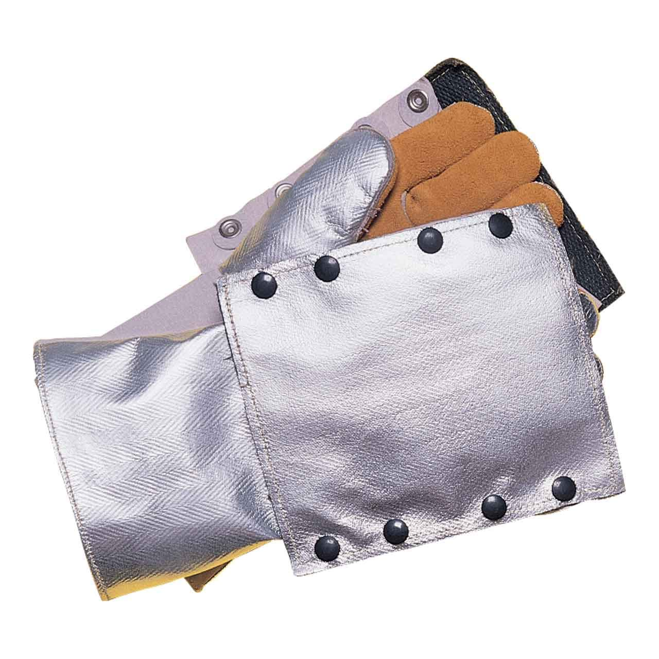 John Tillman and Co 820BHP Leather and Aluminized Rayon Wool Lined Aluminized Welding Glove with Gauntlet Cuff, Silver/Brown