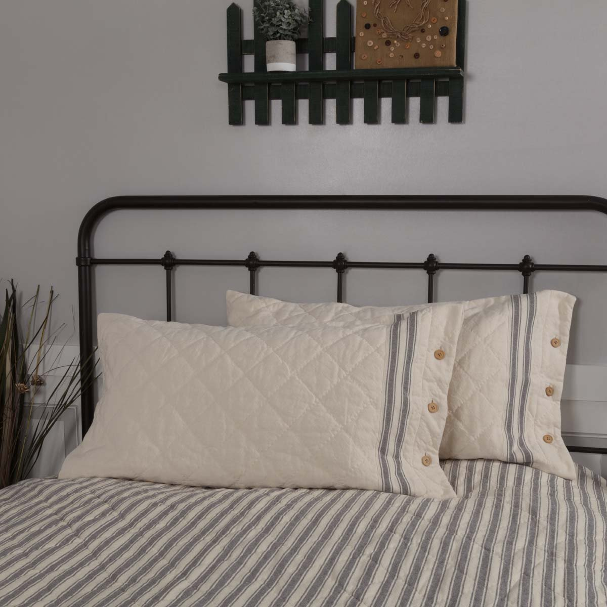 Piper Classics Market Place Gray Quilted King Pillow Sham, 21x37, Cream w/Grain Sack Stripe & Button Details