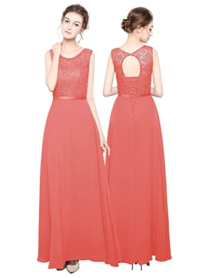 angel fashion Long Chiffon Lace Evening Formal Party Ball Gown Prom Bridesmaid Dress: Amazon.co.uk: Clothing