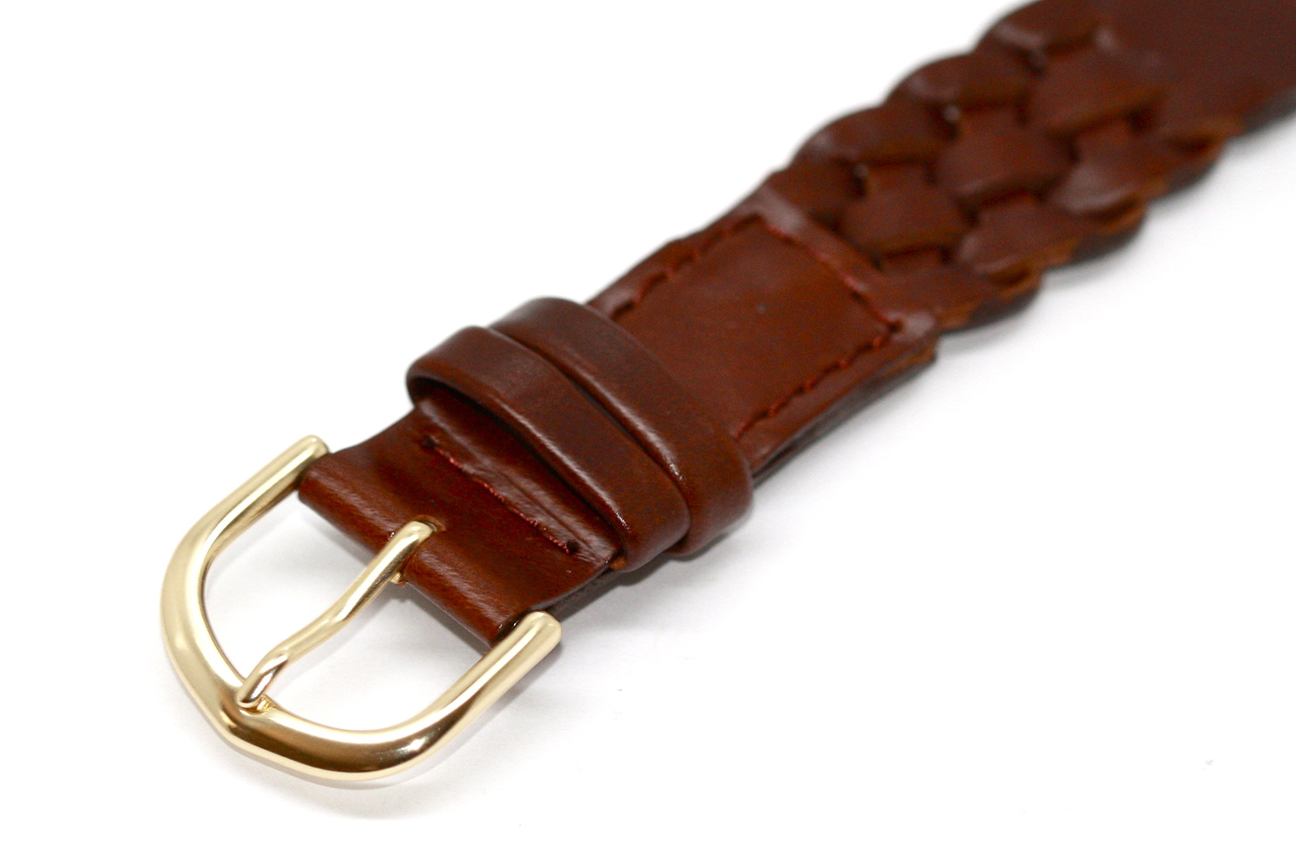 18MM BROWN WESTERN STYLE LEATHER V BRAIDED WATCH BAND STRAP