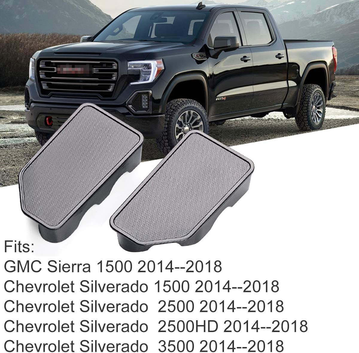 Moonlinks Stake Pocket Covers for 2019 2020 GMC Sierra and Chevy Silverado Bed Rail Stake Pocket Caps(2 Pieces)