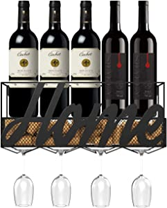 Housolution Wine Holder, Wine Rack Wall Mounted Durable Metal Storage Rack Wine Decor With 4 Long Stem Wine Glass Holder for Home Bar Kitchen - Black
