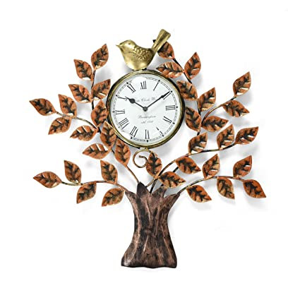 collectible india metal decorative tree design bird wall clock vintage hanging tree of life home office