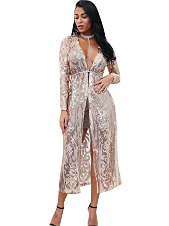 c37bd08413 Glamaker Women's Summer Mesh Sequin Floral Open Front Kimono Cover up  Cardigan with Long Sleeves Apricot