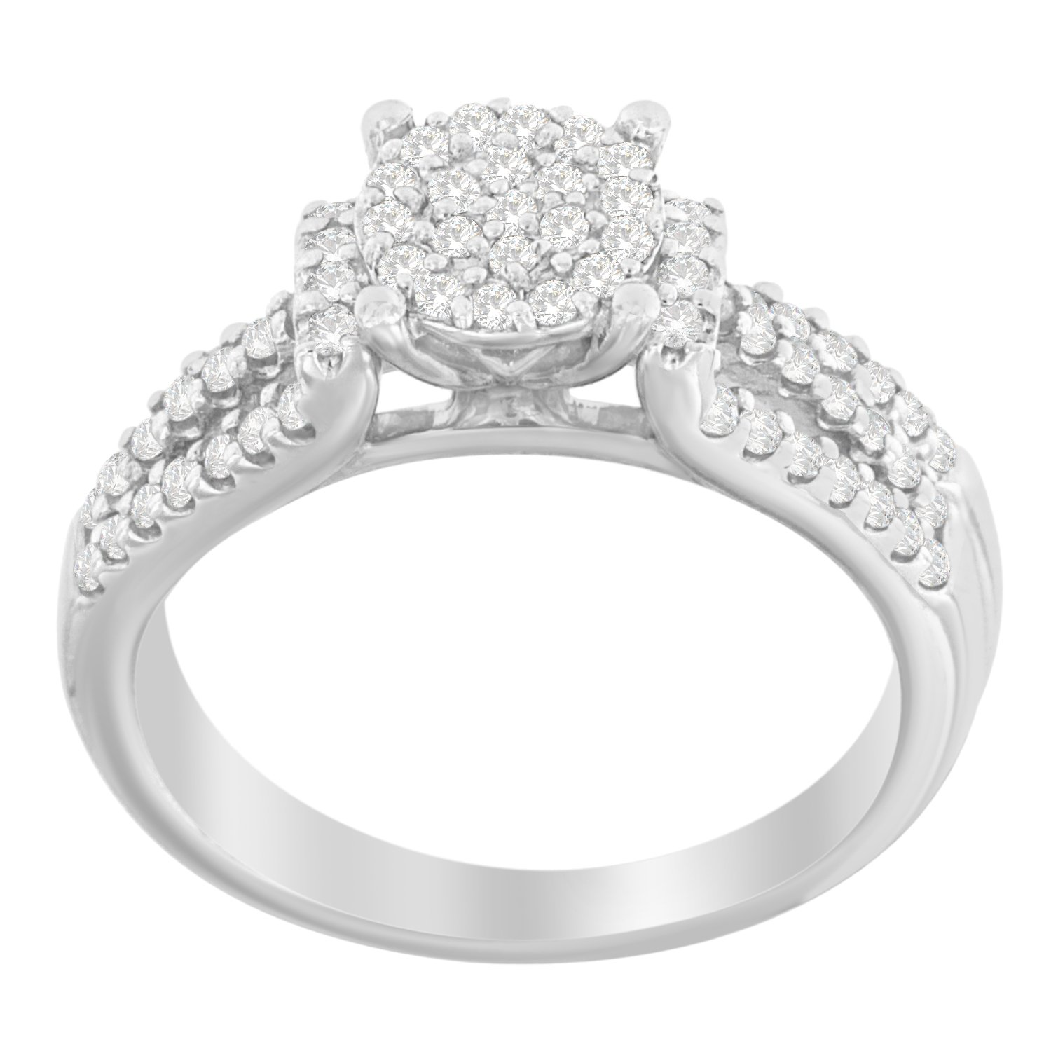 Sterling Silver Round Diamond Wedding/ Engagement Ring Set (1/2 cttw, I-J Color, I3 Clarity)