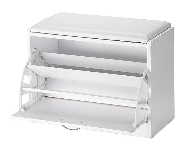 Orolay Gabinete de almacenamiento de zapatos de madera Banco con una aleta (Blanco) Abtxb2
