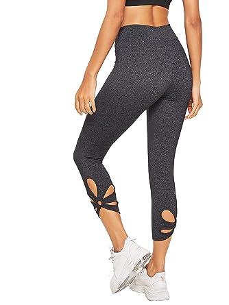 f32a8711c154ca SweatyRocks Women's High Waisted Cutout Crop Leggings Yoga Workout Active  Tights 1-Dark_Grey XS