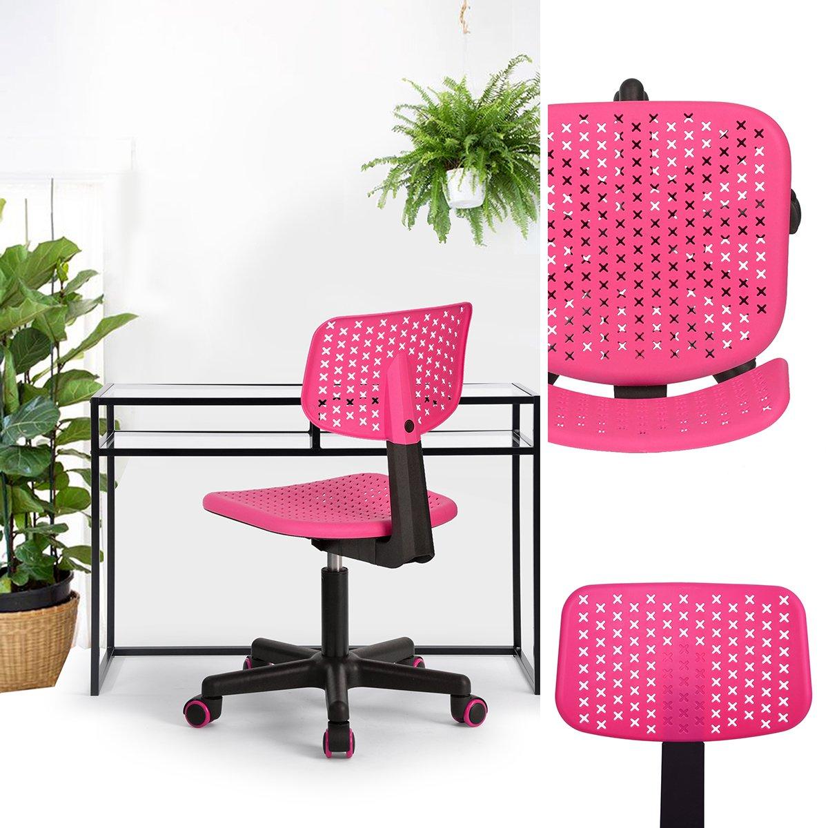 FurnitureR Kids Low-Back Adjustable Computer Seat Office Desk Task Swivel Armless Children Study Chair, Pink