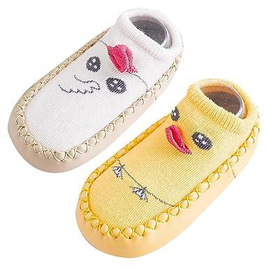 Happy cherry 2 Par Calcetines Bebés Niñas Antideslizante de Algodón para Primeros Pasos Medias Antideslizante Niños Bebés Zapatos de Casa Infantil: ...