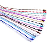KONMAY 20pcs Mixed Color 2.4mm Size #3 Beads Ball Chain Necklace With Connectors (18'')