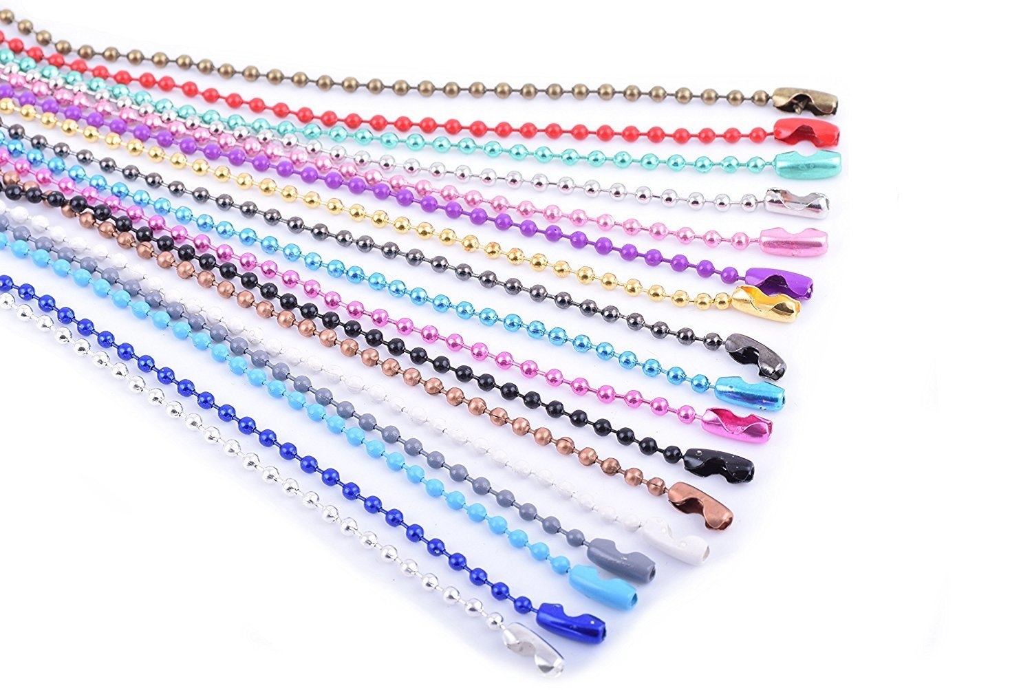 KONMAY 20pcs Mixed Color 2.4mm Size #3 Beads Ball Chain Necklace With Connectors (24'') NCC-MIX24