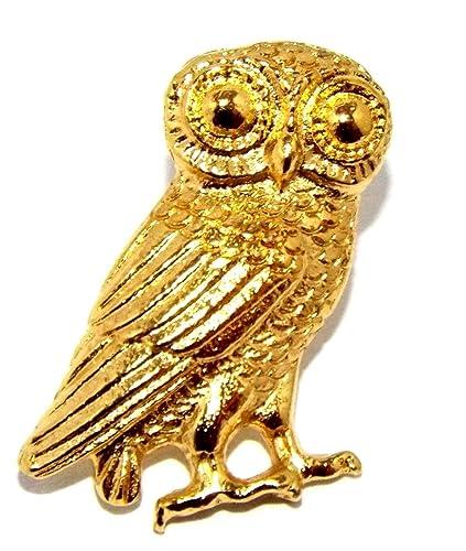 083913c245e Owl of Athena Greek Pin Badge (Minerva Roman) 22c Gold plated Pewter Brooch:  Amazon.co.uk: Jewellery