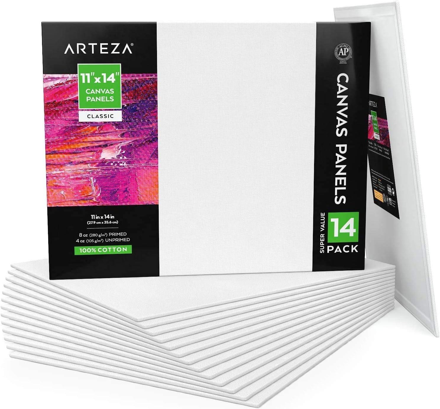 Arteza Paneles de lienzo para pintar cuadros   28x35,5 cm   Pack de 14   100% algodón   Lienzos para óleo, acrílicos y medios húmedos  para artistas profesionales, aficionados y principiantes