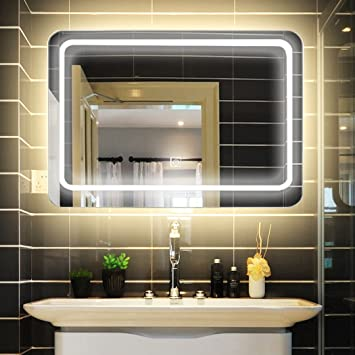 LUVODI Miroir Mural Lumineux 80 x 60cm Salle de Bain avec ...