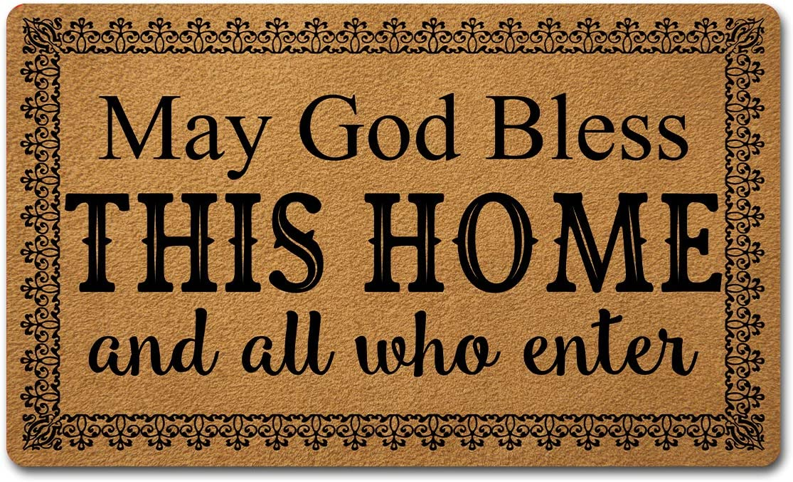 Welcome Door Mats for Home Decor (18 x 30 inch) Funny Mats with Anti-Slip Rubber Back Kitchen Rugs Personalized Doormat for Entrance Way (May God Bless This Home and All Who Enter)