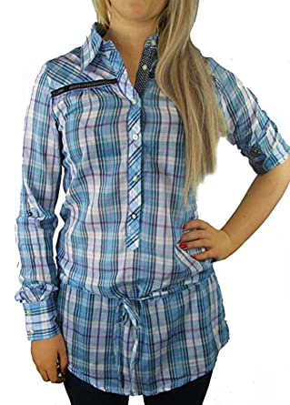 81410c9f6 Ladies Long Sleeve Longer Length Check Checked Shirt Blouse Top in Womens  UK SIZE 8 b36: Amazon.co.uk: Clothing