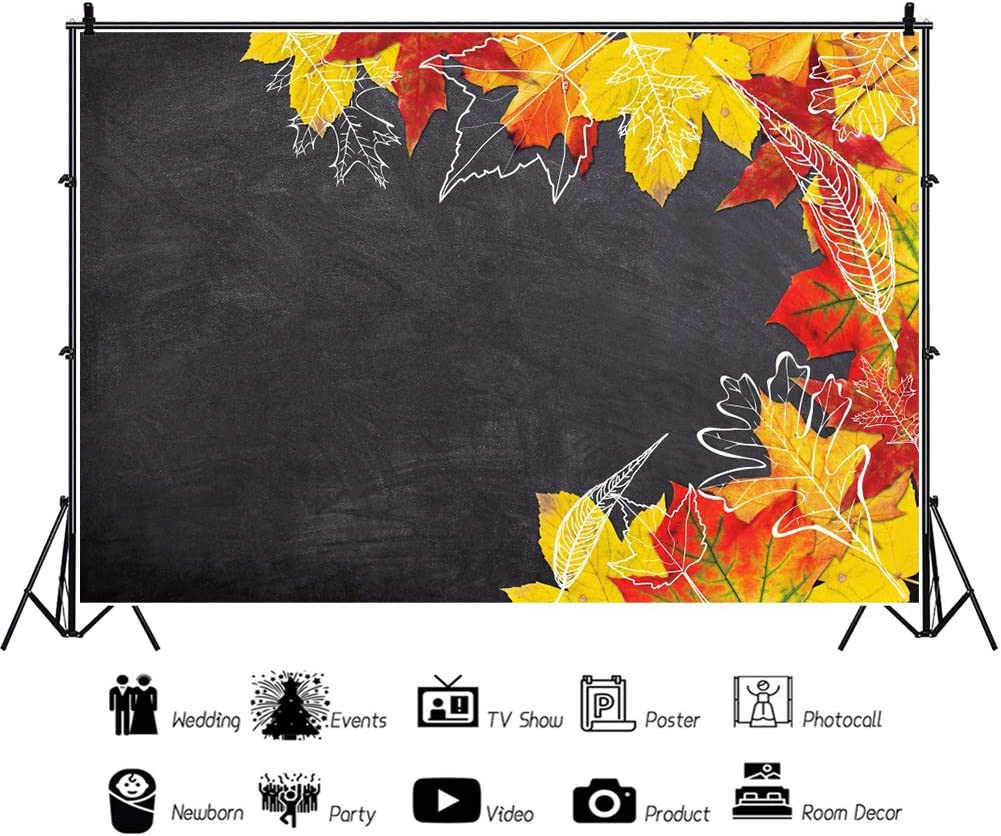 DORCEV 10x8ft Happy Thanksgiving Photography Backdrop Chalkboard Maple Leaves Background November Thanksgiving Party Banner Decor Family Portraits Photo Studio Photobooth Props