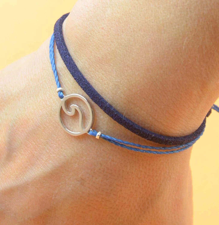 Mens or women bracelet Sterling Silver Wave Windsurf charm bracelet