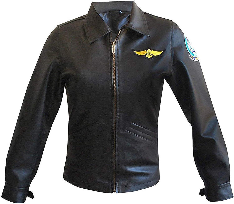 Top Mujeres Kelly Mcgillis Pilot Outfit (Charlie) Chaqueta de cuero y piel sintética con parches