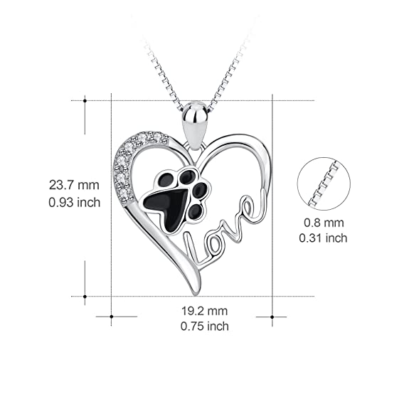 925 Sterling Silver Pet Paw Print Love Heart Pendant Necklace with Gift Box iGkhH6