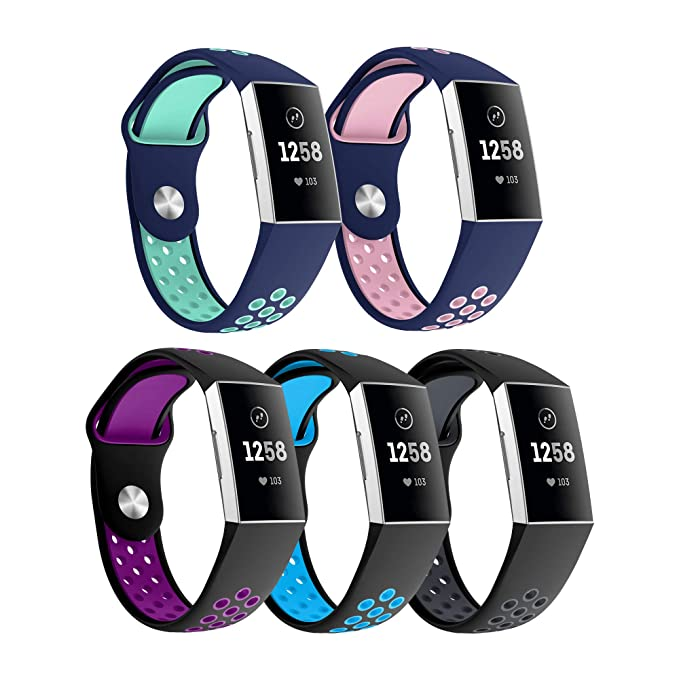 CSVK Fitbit Charge 3 Strap Bands, Adjustable Replacement Accessory Bracelet  Soft Silicone Sport Wristband Straps for Fitbit Charge 3/Charge 3 SE