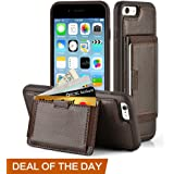 """iPhone 6 Plus Wallet Case, iPhone 6s Plus Leather Case,ZVE Wallet Case cover with Credit Card Holders Case With Kickstand Carrying Protective Shockproof Case for Apple iPhone 6 Plus 5.5"""" (Dark Brown)"""