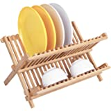 Dish Rack,HBlife Bamboo Folding 2-Tier Collapsible Dish Drying Rack Holder Drainer Utensils & Dishes
