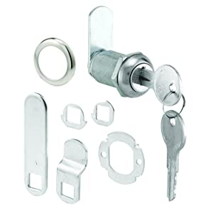 "Prime-Line U 9945 Cabinet Lock Secure Important Files and Drawers, 1 1/8"", Diecast Stainless Steel, Fits on 13/16"" Max Panel Thickness Pack of 1"