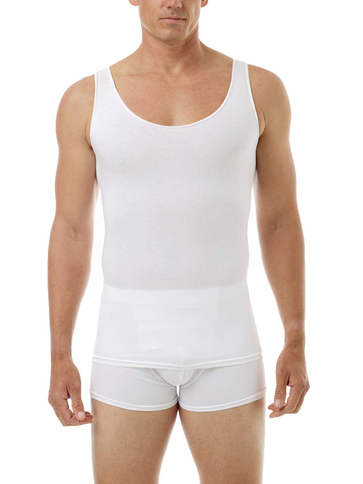 Underworks Mens Cotton Spandex Compression Tank 3-Pack, Large, White by Underworks (Image #1)