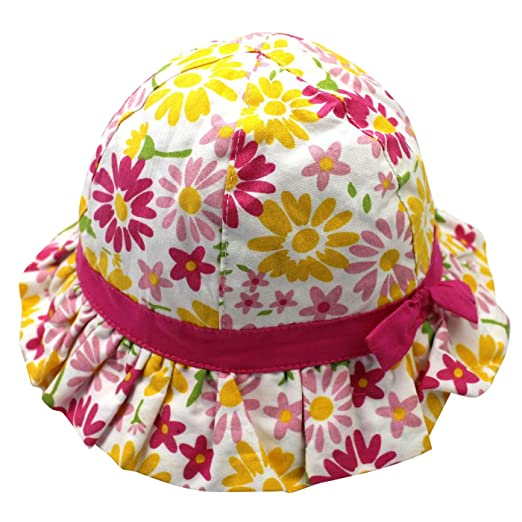 d68464a842d Langzhen Baby Girls Sun Protection Bucket Hat Floral Printed with Adjusted  Drawstring Strap 0-2T