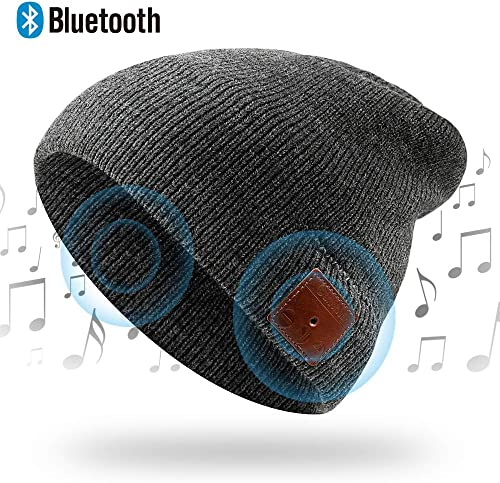 NICEWELL Wireless Bluetooth Beanie Music Hat Bulit in Headphones and Speakers, Unisex Unique for Teenagers and Adult Grey