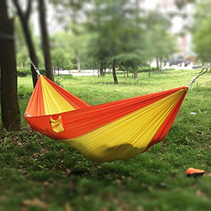 Generic Double Person Portable Parachute Nylon Fabric Hammock Orange Yellow Swing Tent