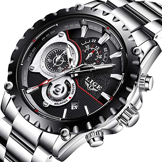 para Hombre Relojes Impermeable Deporte Cuarzo AnalóGico De Acero Completo Hombres Lige Marca Business Negro Reloj de Pulsera: LIGE: Amazon.es: Relojes