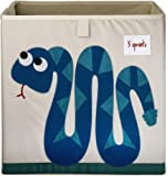 3 Sprouts Organizer Container Cube Storage Box for Kids & Toddlers, Snake Blue