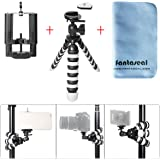 Fantaseal Octopus Mini Tripod for Camera + Smartphone Flexible Tripod Table Desk Tripod Travel Mobile Phone Selfie Tripod w/Phone Clip (Max Width:100mm) Compatible for Iphone Samsung Huawei Phone etc