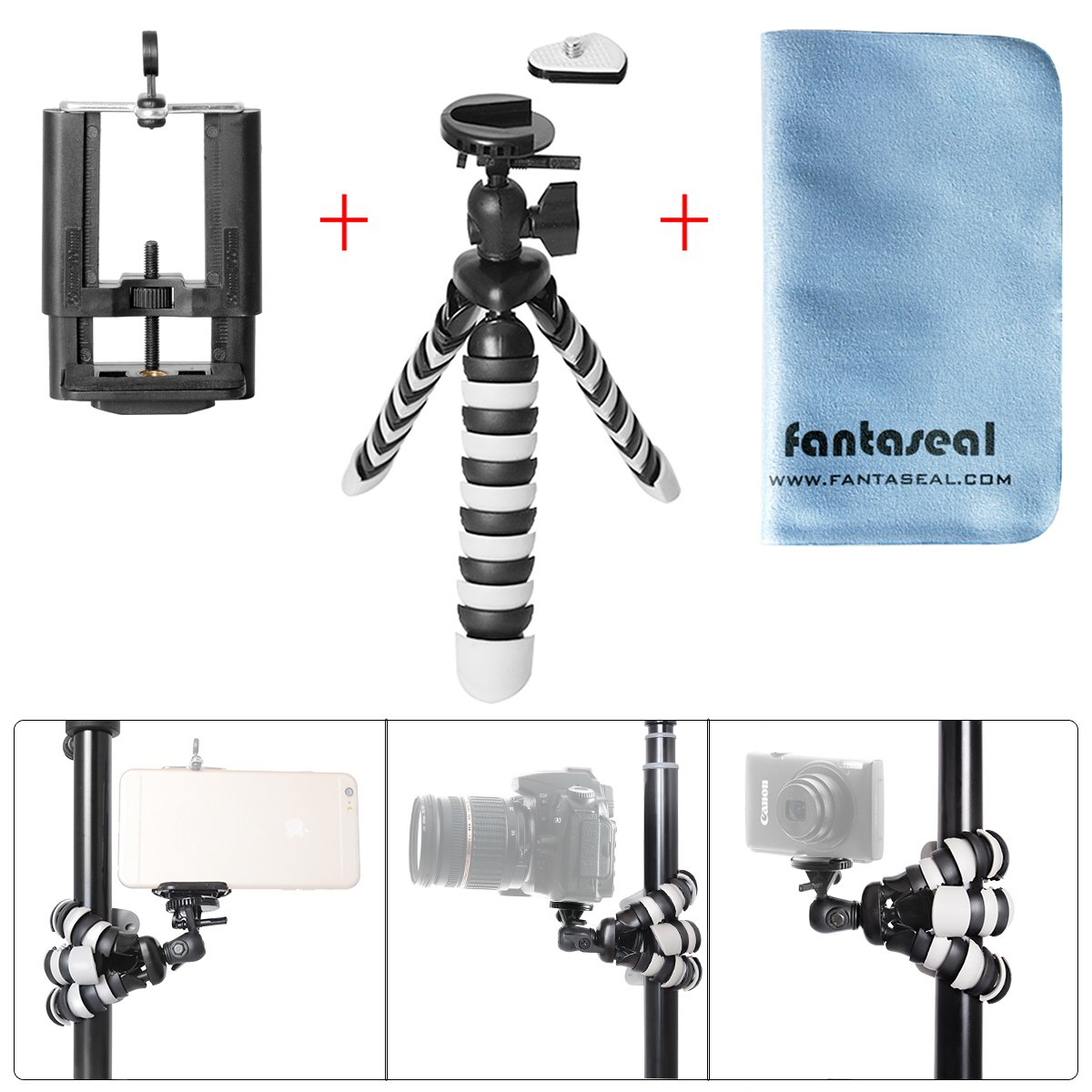 DSLR Camera + Smartphone Mini Octopus Tripod 3-in-1 Flexible Outdoor Tripod Table Desk Tripod Travel Portable Tripod Stand Holder Compatible with iPhone 7+ iPhone 7 Huawei Selfie Tripod
