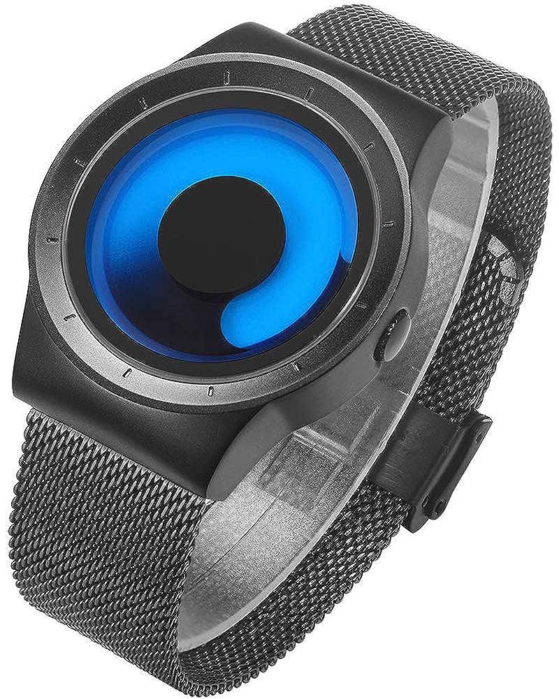 Relojes Hombre Relojes de Pulsera Deportivos Impermeable Acero Inoxidable de Malla Ultra Fino Azul Reloj Analogico Hombre Minimalista Negocios