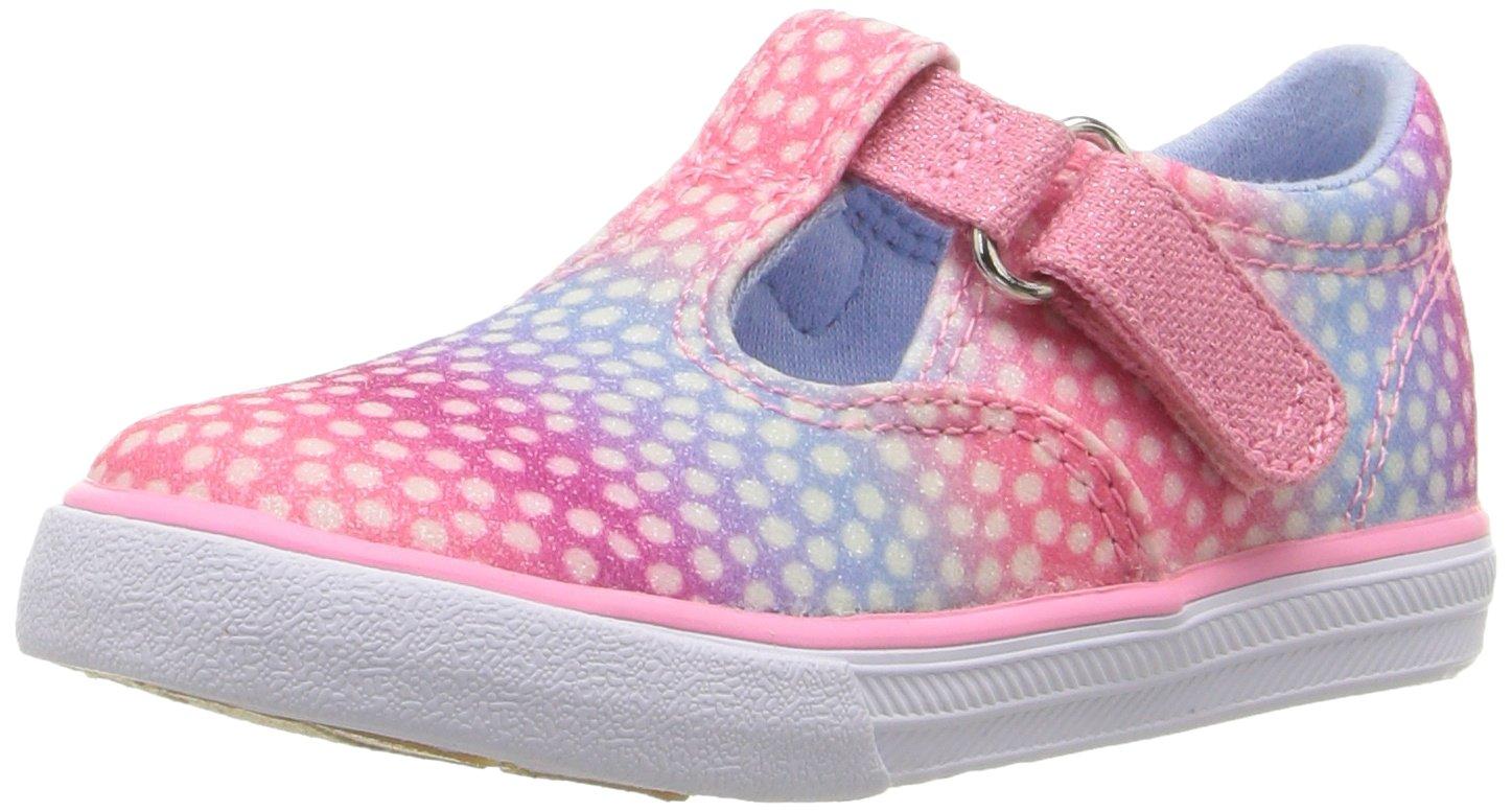 Keds Daphne T-Strap Sneaker (Toddler/Little Kid), Pink/Multi Dot Sugar Dip, 7 W US Toddler
