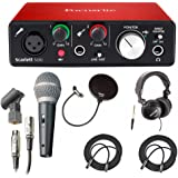 Focusrite Scarlett Solo USB Audio Interface (2nd Gen) With Pro Tools & Free Microphone, Headphones, 2 XLR Cables Bundle …