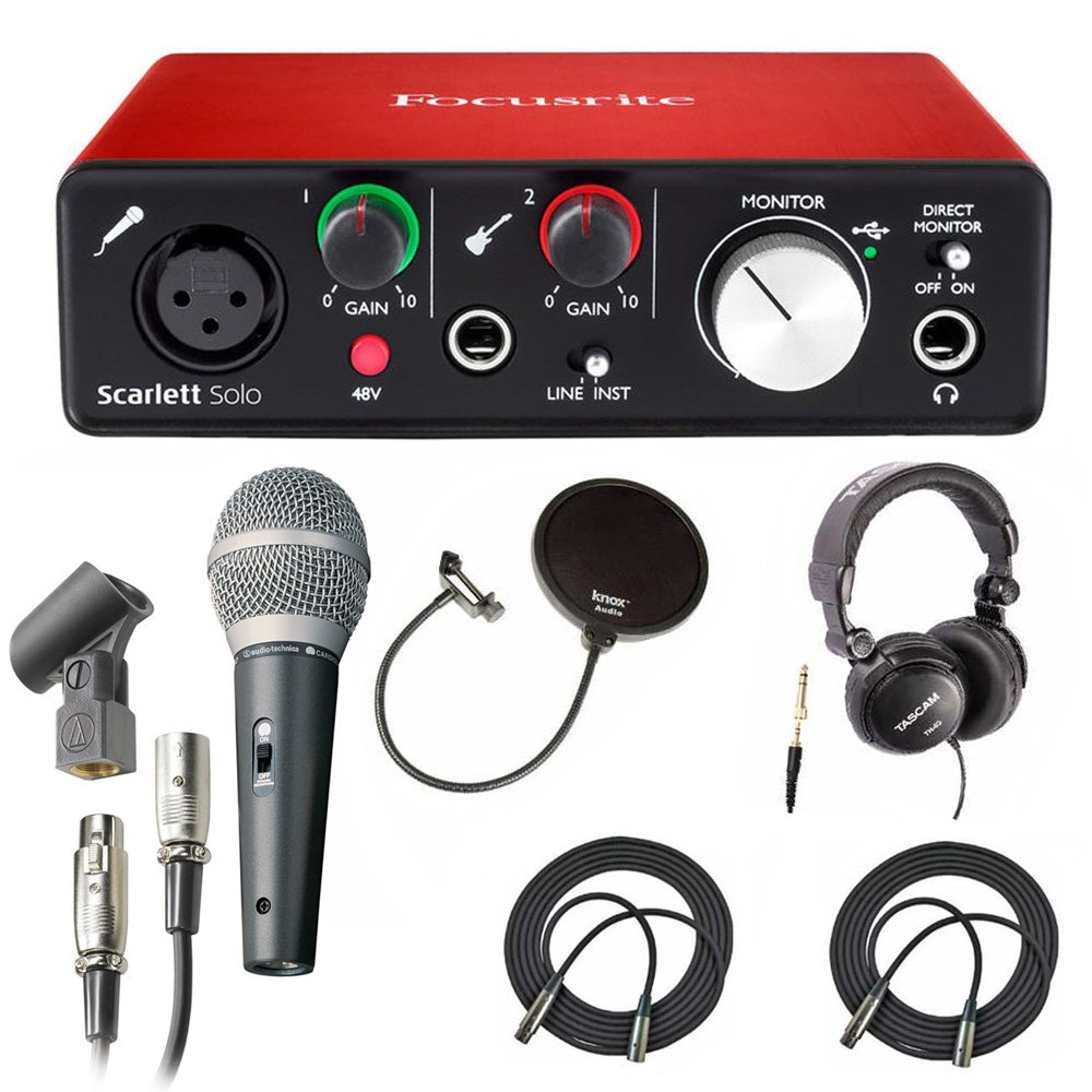 Focusrite Scarlett Solo USB Audio Interface (2nd Gen) + 2 Knox Pop Filters 4334426840