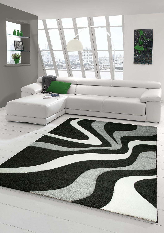 Designer Teppich Moderner Teppich Wohnzimmer Teppich Kurzflor Teppich mit Konturenschnitt Wellenmuster Schwarz Grau Weiss Größe 120x170 cm