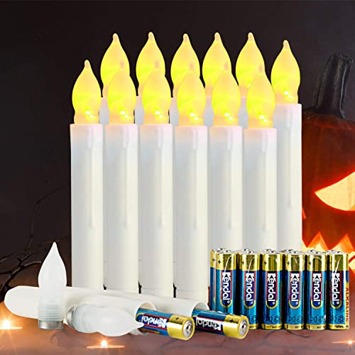 Homemory 12 PCS Flameless LED Taper Candles with 24 PCS Batteries Lasting Over 800 Hours , Battery Operated Fake Candles with Warm Yellow Flickering Flame, Dia 0.8 x H 6.5 Dripless Handheld Candles