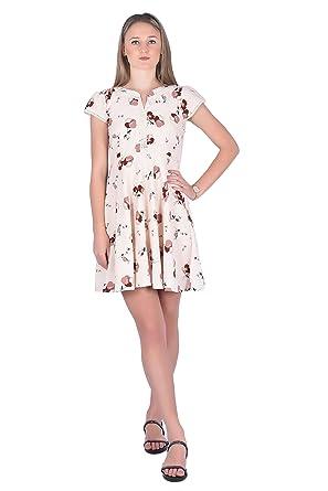 aafc2e3efb ... buy popular f9aa5 0de33 Ezor Womens Peach Floral Skater Dress(E011XSPeach)  ...