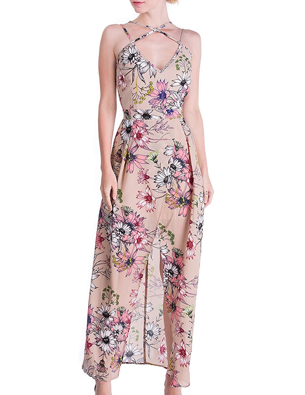 c0200a1b05 DISBEST Women's Long Maxi Dresses, V Neck Floral Print Side Slit Criss  Cross Back Party Beach Maxi Dress at Amazon Women's Clothing store: