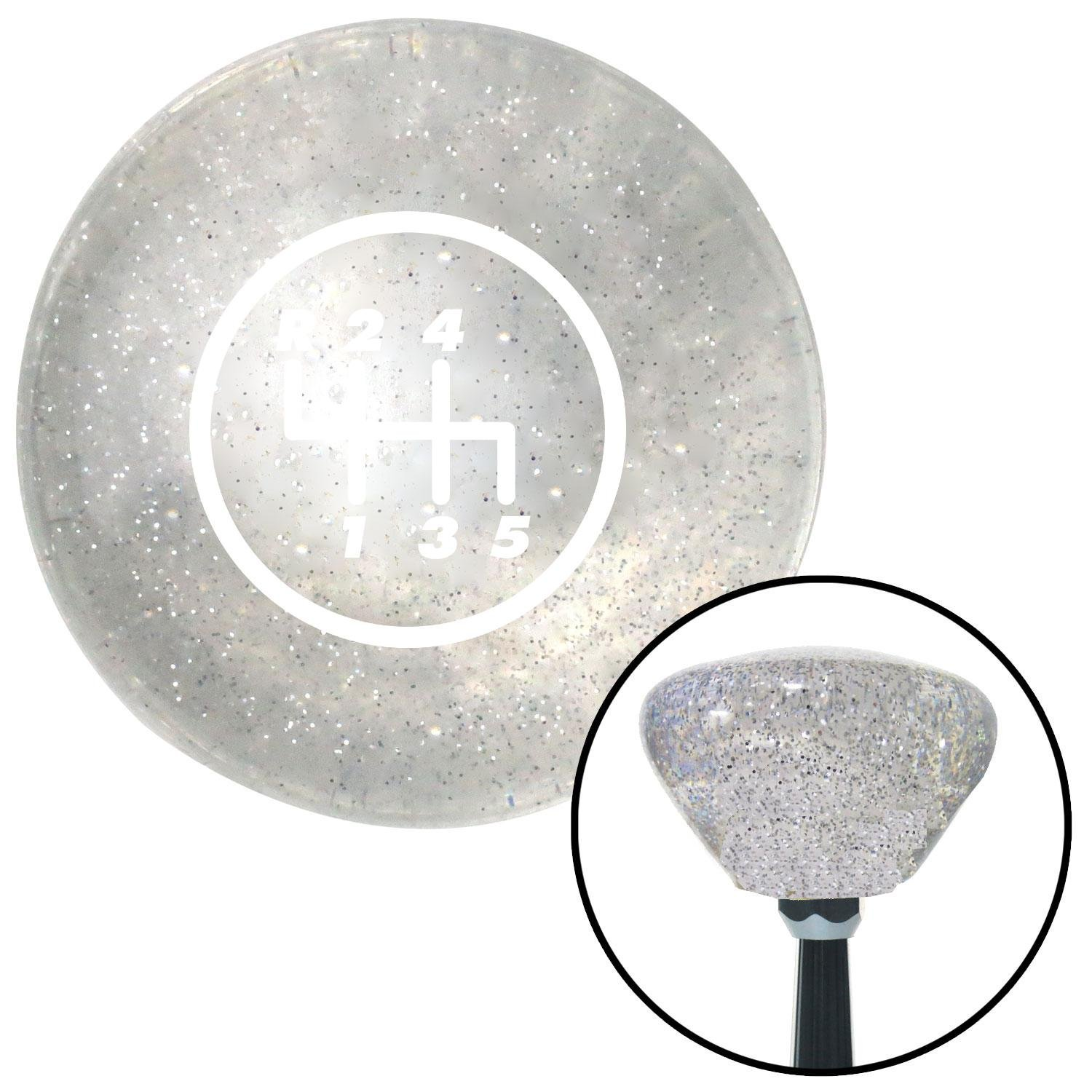 White 5 Speed Shift Pattern - 5RUL American Shifter 159084 Clear Retro Metal Flake Shift Knob with M16 x 1.5 Insert