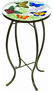 Evergreen Enterprises Butterflies Glass Top Side Table