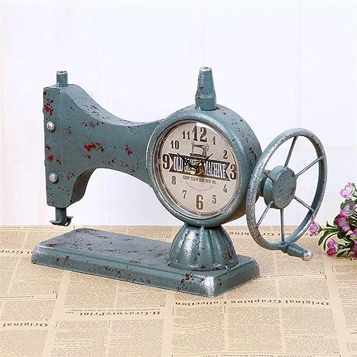 Despertador digital Reloj de mesa para el dormitorio, máquina de coser modelando reloj de una cara - gris azul: Amazon.es: Hogar